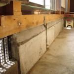 モルタル充填完了 必要に応じアンカー溶接、鉄筋を組みます。